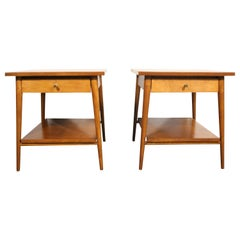 Midcentury Paul McCobb #1587 Nightstands Tobacco Finish Brass Knobs End Tables