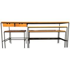 Midcentury Paul McCobb #1595 Nesting Coffee Tables Bench Maple Iron 2-Drawer