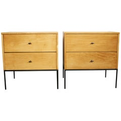 Midcentury Paul McCobb 2-Drawer #1503 Nightstands Blonde Lacquer T Pulls