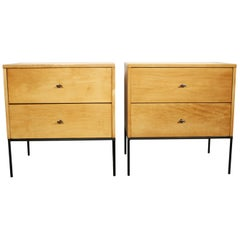 Midcentury Paul McCobb 2 Drawer #1503 Nightstands Blonde Lacquer T Pulls
