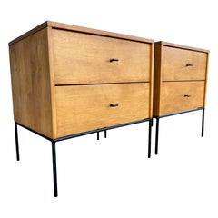 Midcentury Paul McCobb 2 Drawer #1503 Nightstands Blonde T Pulls