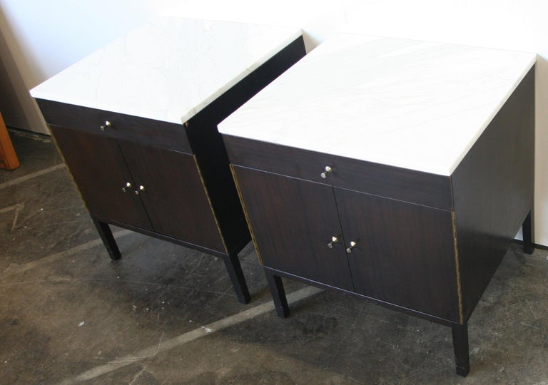 Midcentury Paul McCobb Calvin #7700 Nightstands Calacatta Gold Marble Tops For Sale 3