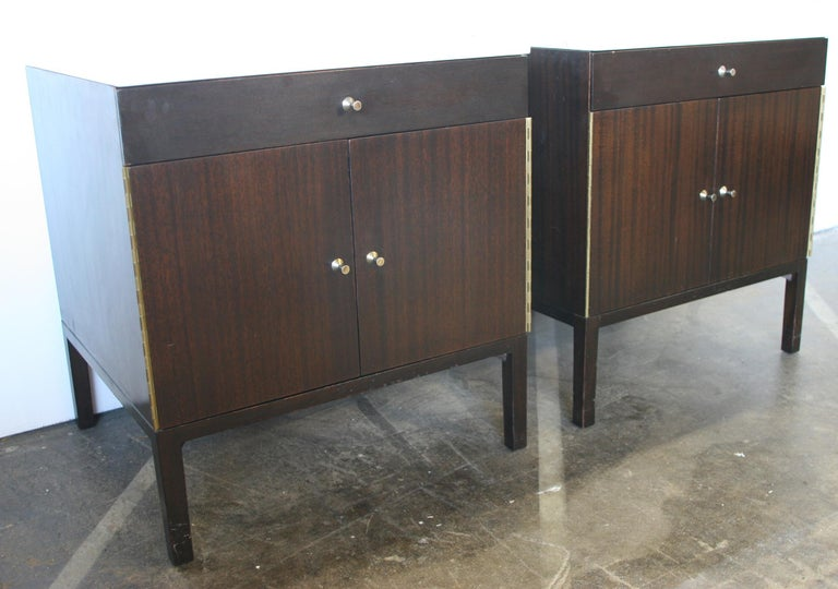 American Midcentury Paul McCobb Calvin #7700 Nightstands Calacatta Gold Marble Tops For Sale