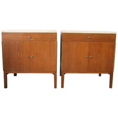 Midcentury Paul McCobb Calvin #7700 Nightstands Travertine Marble tops