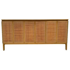 Midcentury Paul McCobb Calvin 8-Drawer Dresser Credenza #7707 Cane leather Brass