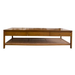 Midcentury Paul McCobb Calvin #8739 Coffee Table Brass Cane 3-Drawer