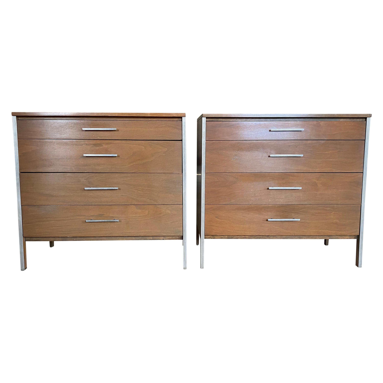 Midcentury Paul McCobb Pair of Calvin 4-Drawer Dressers Walnut Aluminum