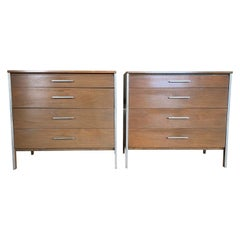 Midcentury Paul McCobb Pair of Calvin 4-Drawer Dressers Walnut Aluminum