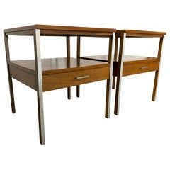 Midcentury Paul McCobb Pair of Calvin Single Drawer Nightstands Walnut Aluminum
