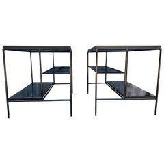 Midcentury Paul McCobb Pair Planner Group End Side Tables #1578 Iron All Black
