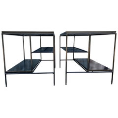 Midcentury Paul McCobb Pair of Planner Group End Side Tables Iron All Black