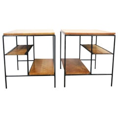 Midcentury Paul McCobb Pair of Planner Group End Side Tables #1578 Maple Iron
