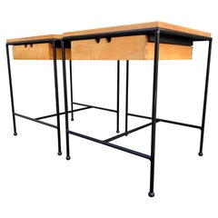 Midcentury Paul McCobb Pair Planner Group Nightstands End Table #1572 Maple Iron