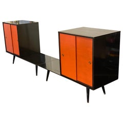 Midcentury Paul McCobb Planner Group Four Piece Cabinets with Benches, 1950s