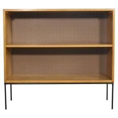 Midcentury Paul McCobb Single Bookcase #1516 Maple Perforated Back Iron Base