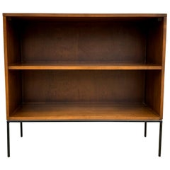 Midcentury Paul McCobb Single Bookcase #1516 walnut finish Iron Base clean
