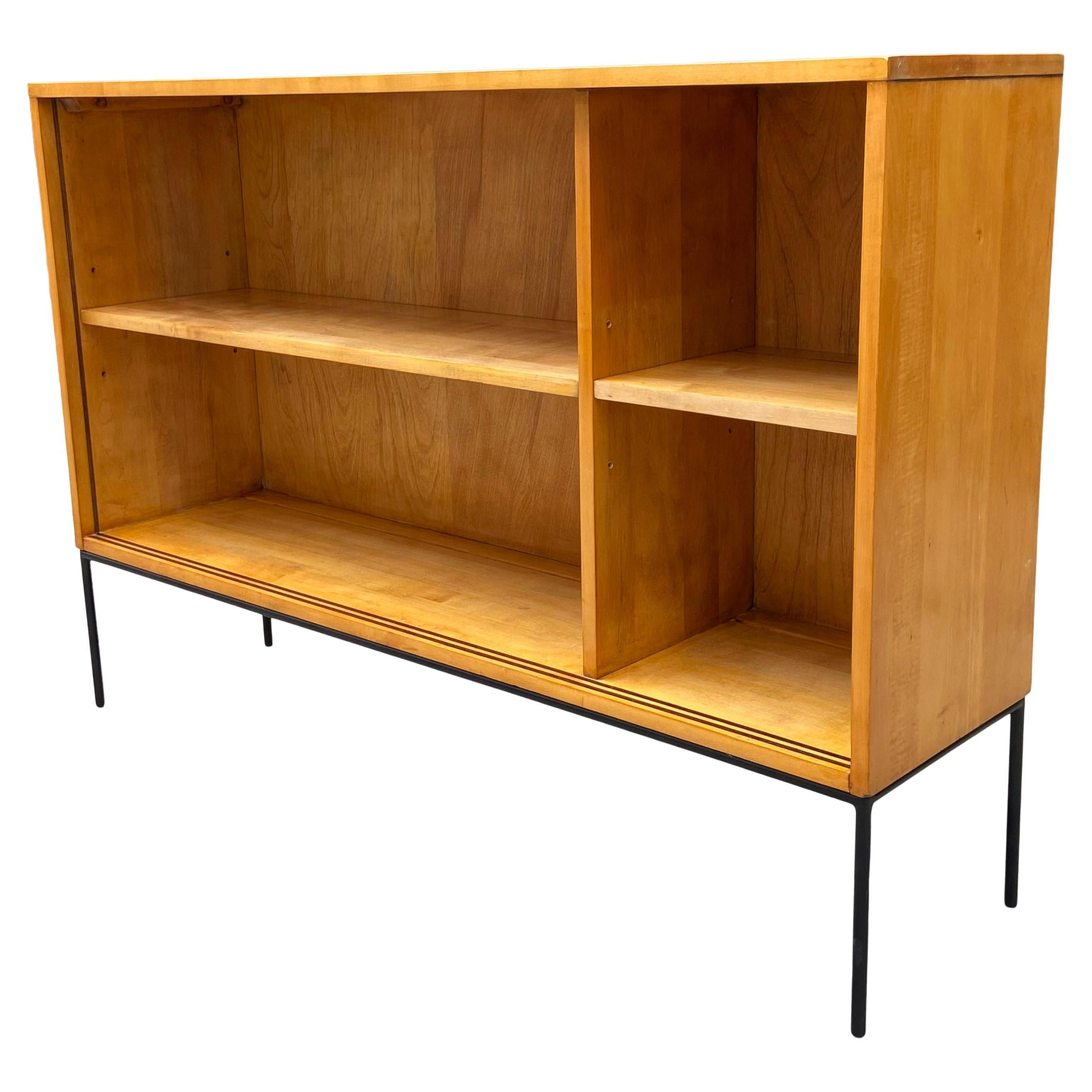 Midcentury Paul McCobb Single Bookshelf Maple on Iron Base