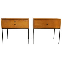 Midcentury Paul McCobb Single Drawer #1500 Nightstands Tobacco T Pulls Locking