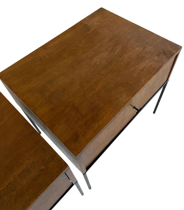 Maple Midcentury Paul McCobb Single Drawer #1500 Nightstands walnut T Pulls For Sale