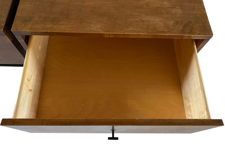 Midcentury Paul McCobb Single Drawer #1500 Nightstands walnut T Pulls For Sale 1