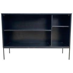 Midcentury Paul McCobb Single Wide Bookshelf Maple Iron Base Black