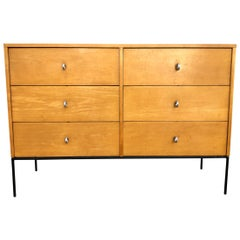 Midcentury Paul McCobb Six-Drawer Dresser Credenza #1509 Blonde Maple Ring Pulls
