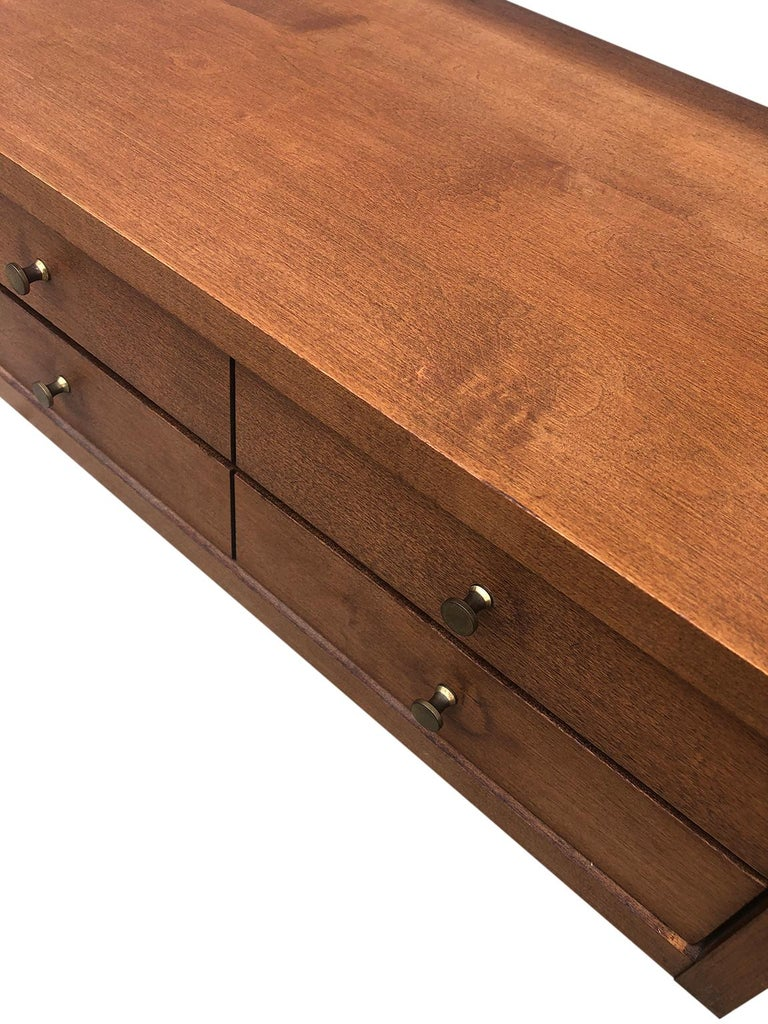 Mid-Century Modern Midcentury Paul McCobb Small Jewelry Chest 4 Drawers Maple Brass Tobacco Finish For Sale