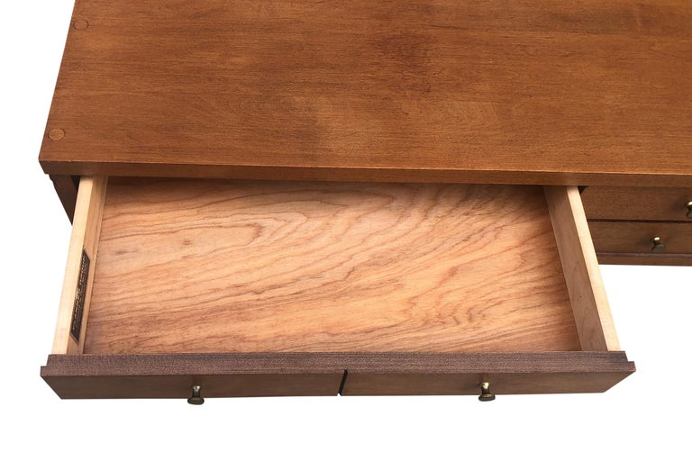 Midcentury Paul McCobb Small Jewelry Chest 4 Drawers Maple Brass Tobacco Finish For Sale 1