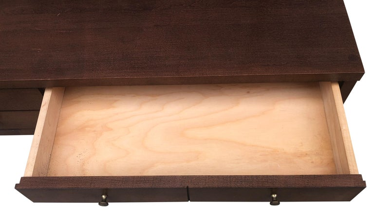 American Midcentury Paul McCobb Small Jewelry Chest 4 Drawers Maple Brass Walnut Finish For Sale