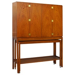 Midcentury Paul McCobb Style Tall Bar Bifold Door Cabinet with Console Cart