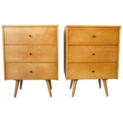 Midcentury Paul McCobb Triple Drawer #1506 Nightstands Blonde Maple Black Pulls