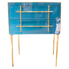 Midcentury Peacok Blue Murano Crystal and Brass Italian Chest of Drawers