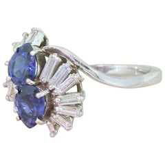 Midcentury Pear Cut Sapphire and Baguette Cut Diamond Ring