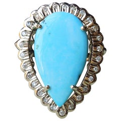 Midcentury Pear Turquoise and Diamond Ring