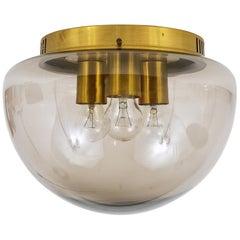 Midcentury Peill & Putzler Glass Globe Flushmount Ceiling Lamp, Germany, 1970s