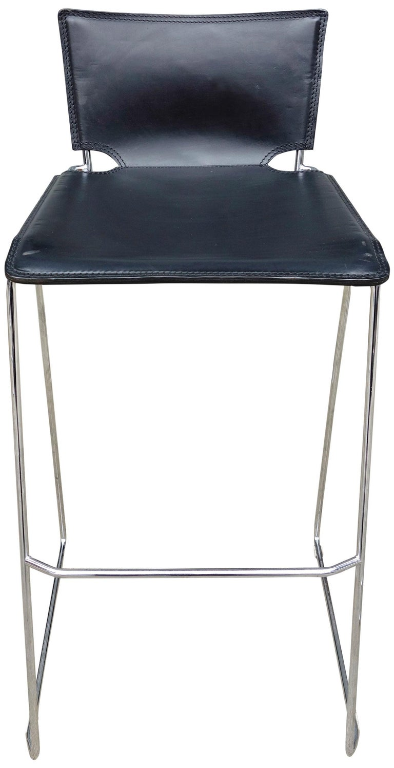 Midcentury Pelle Stacking Stools by ICF For Sale 1