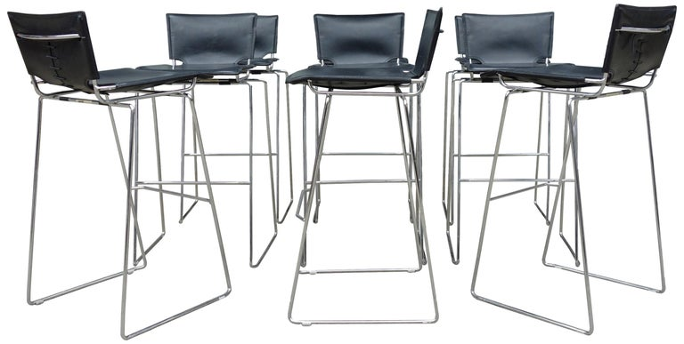 Midcentury Pelle Stacking Stools by ICF For Sale 2