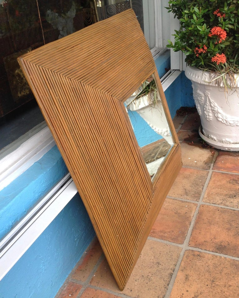 Mid-Century Modern Midcentury Pencil Reed Mirror For Sale