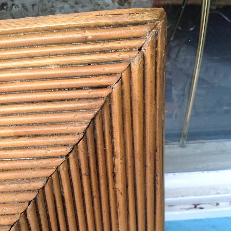 Rattan Midcentury Pencil Reed Mirror For Sale