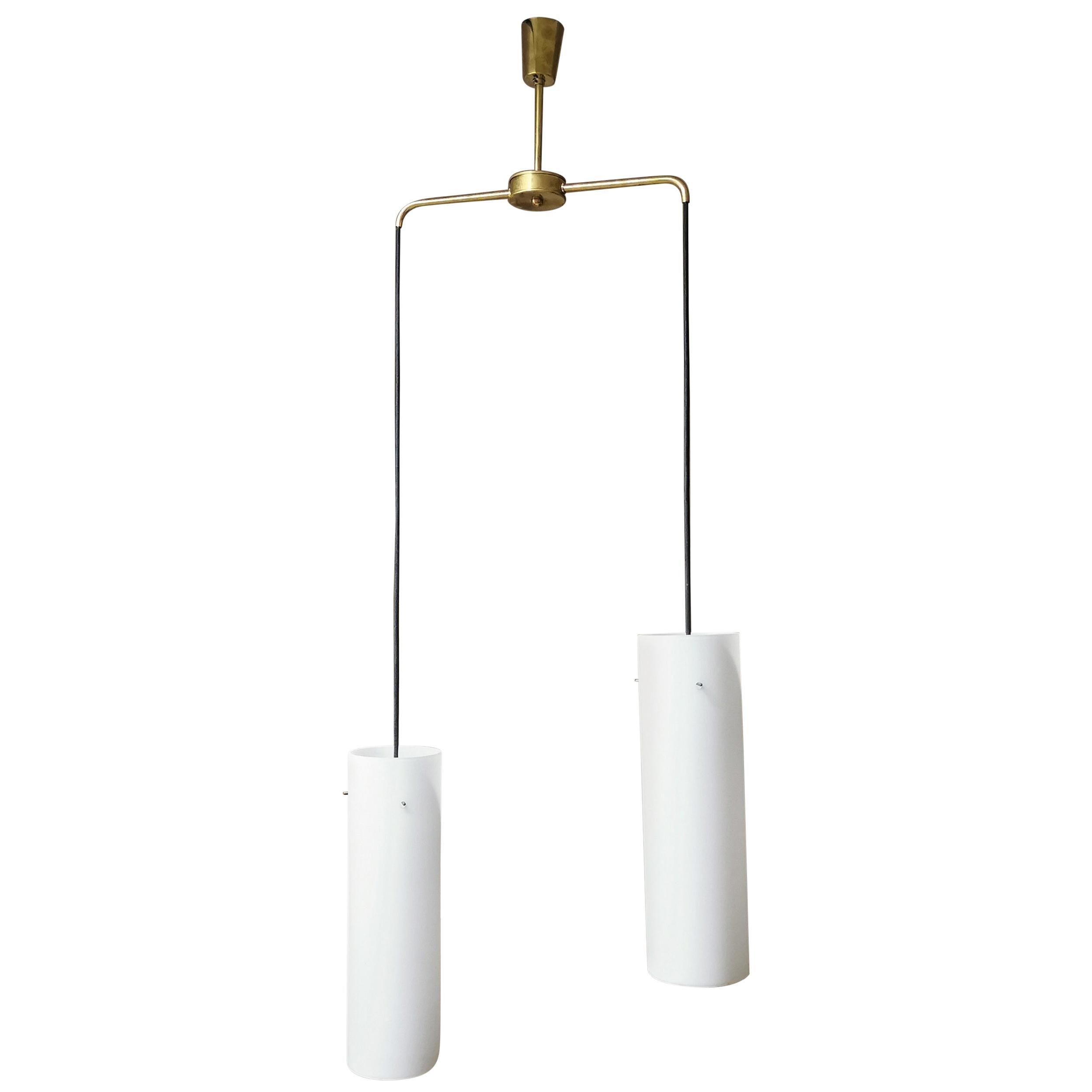 Mid Century Pendant light White Opal Glass Brass Italian Design 1960s