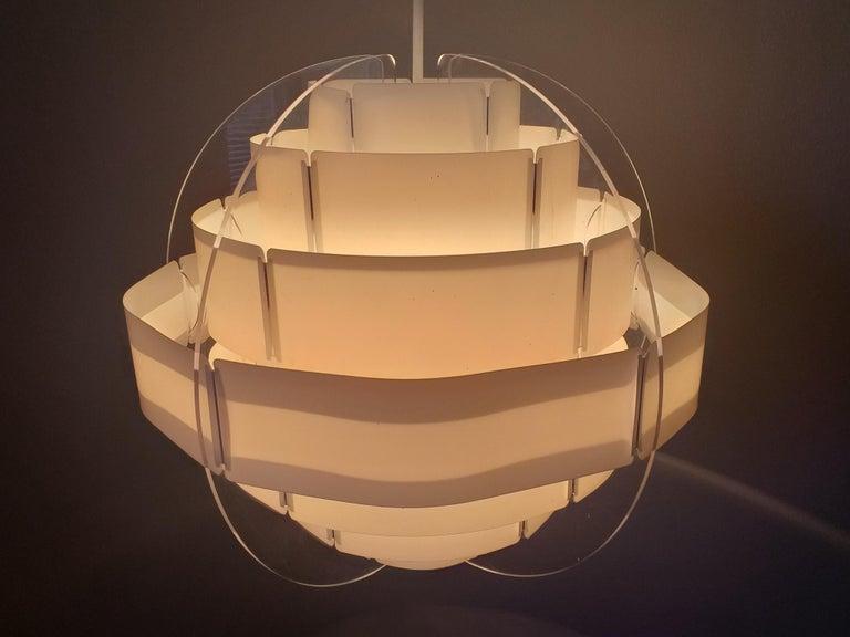 Plastic Midcentury Pendant Designed by Preben Jacobsen & Flemming Brylle, Denmark, 1970s For Sale