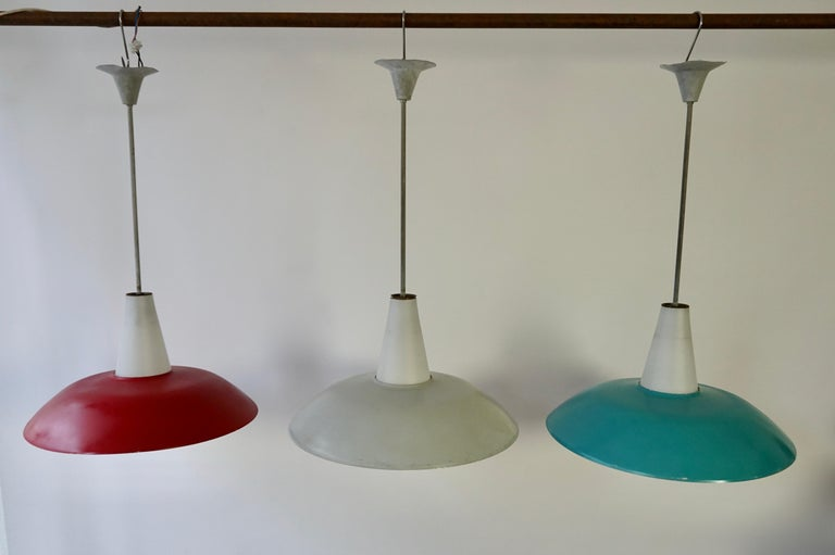 Mid-Century Modern Midcentury Pendant in Metal and Opaline Glass For Sale