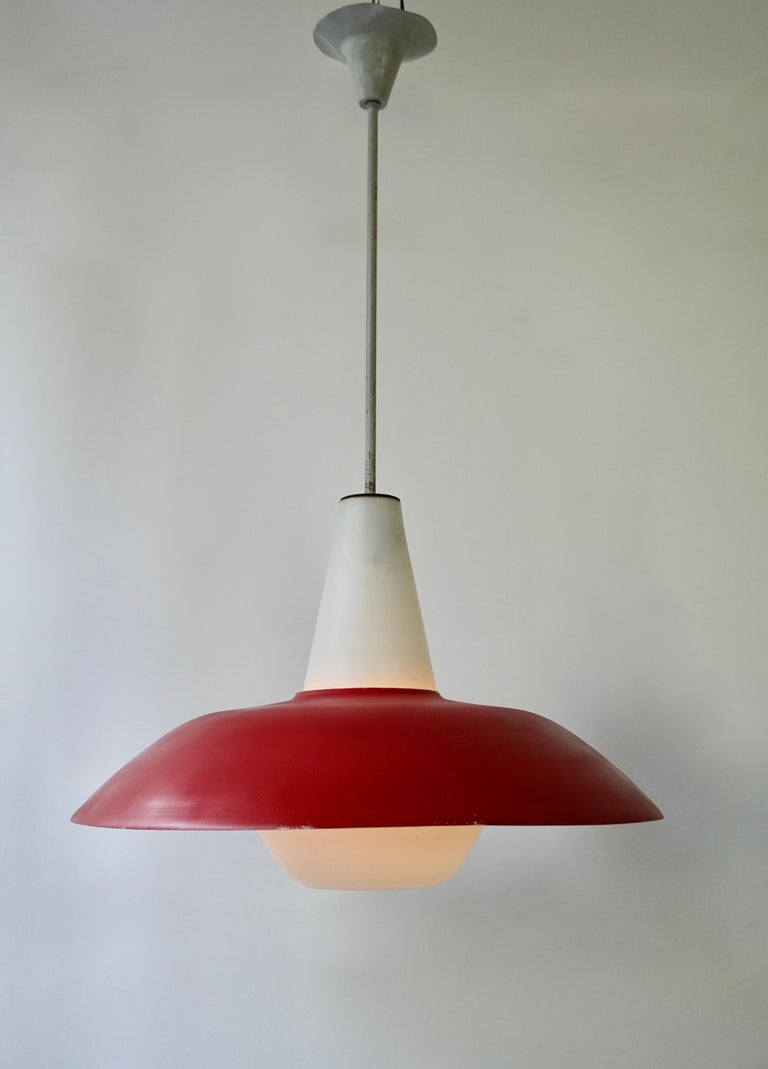 Italian Midcentury Pendant in Metal and Opaline Glass For Sale