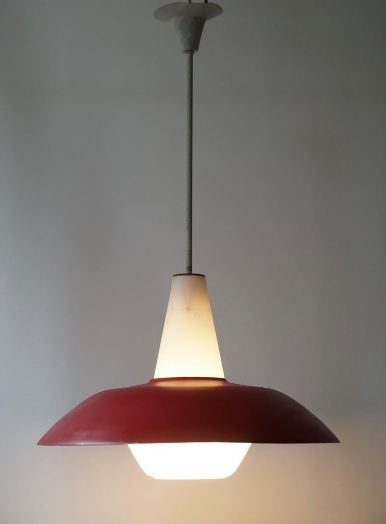 Midcentury Pendant in Metal and Opaline Glass In Good Condition For Sale In Antwerp, BE