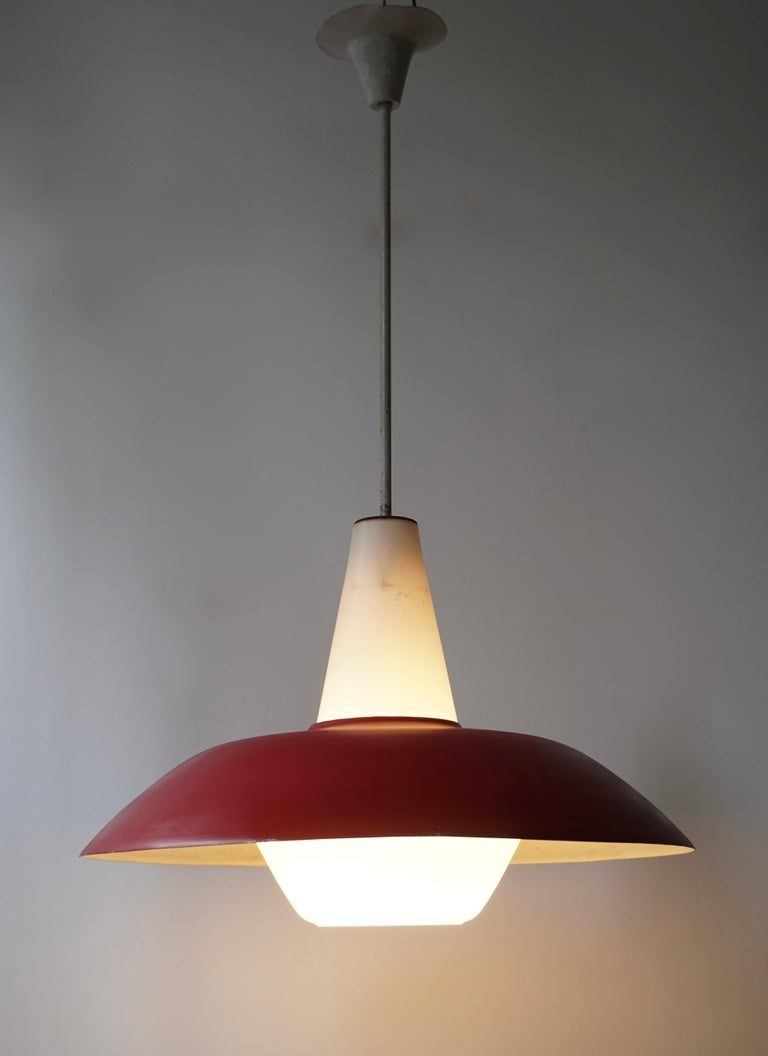 20th Century Midcentury Pendant in Metal and Opaline Glass For Sale