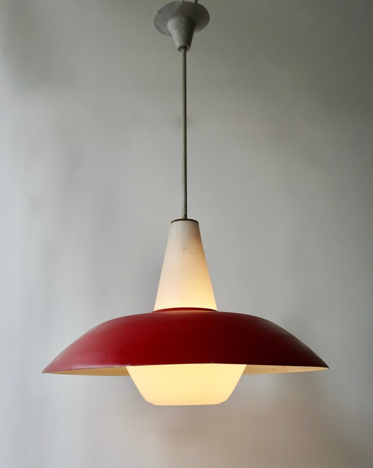 Midcentury Pendant in Metal and Opaline Glass For Sale 2