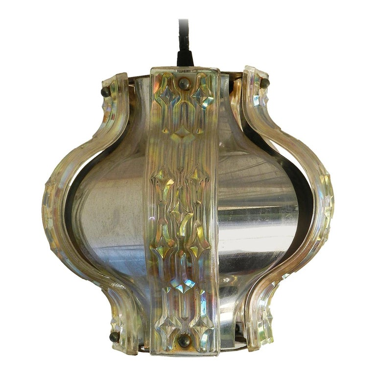 Midcentury Pendant Light Chrome and Irridescent Glass Panels For Sale