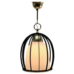Midcentury Pendant Light Forget Metal and Opaline Lampshade