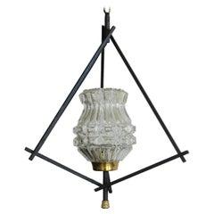 Midcentury Pendant Light Lantern Tripod Metal Frame