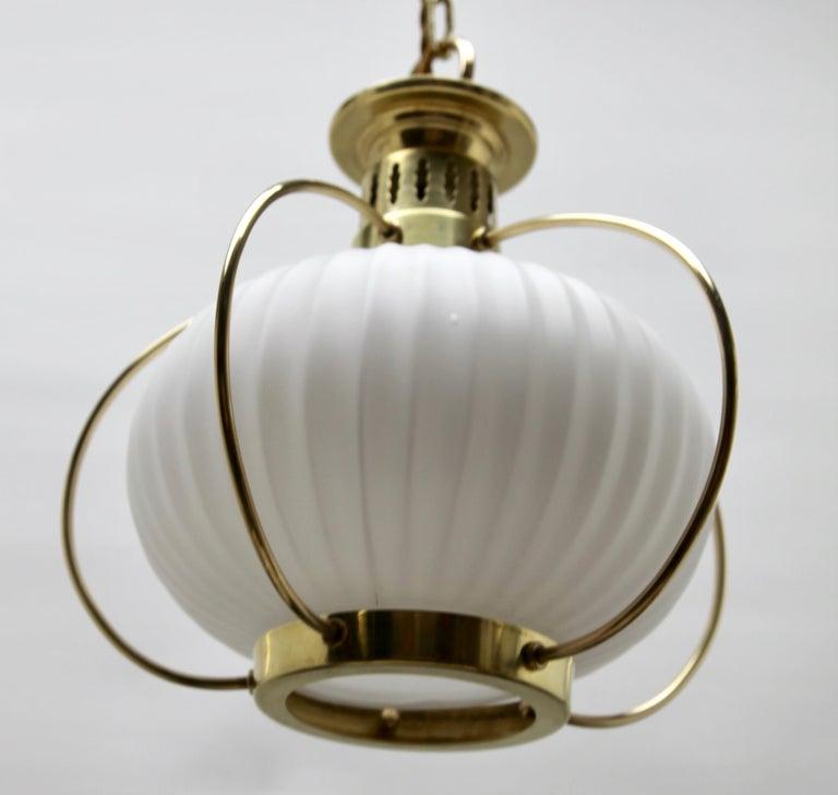 Belgian Midcentury Pendant Lobby Light Brass and Opaline Lampshade